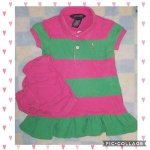 Ralph Lauren Pink 💗 & Green 💚 Toddler Dress Set